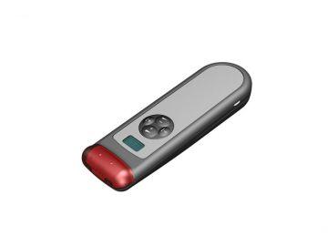 Infracom, Projektbetreuung von der Konstruktion bis zur Serie von Constin, das Rendering aus SolidWorks zeigt ein Kunststoffgehäuse eines silbernen Receivers von oben schräg