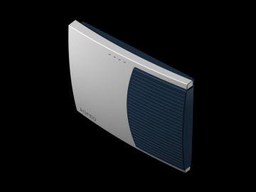 AS 3000, Produktdesign, Konstruktion, CNC-Fraesteile und Vakuumgussteile von Constin, Hier ein Rendering aus SolidWorks, das eine rechteckige, dynamisch gestylte Box in silber und blau zeigt auf schwarzem Hintergrund, Perspektive 04