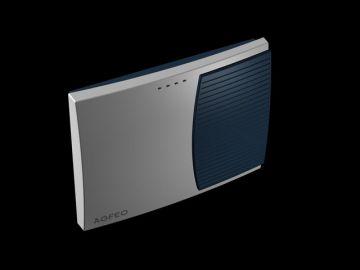 AS 3000, Produktdesign, Konstruktion, CNC-Fraesteile und Vakuumgussteile von Constin, Hier ein Rendering aus SolidWorks, das eine rechteckige, dynamisch gestylte Box in silber und blau zeigt auf schwarzem Hintergrund, Perspektive 03
