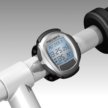 Sportuhr, Produktdesign von Constin, hier ein fotorealistisches Rendering aus SolidWorks des Designgehäuses der Sportuhr: silbern, rund mit großem Display, am Lenker montiert