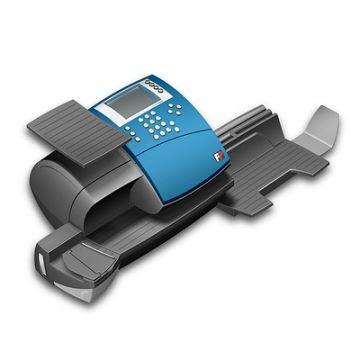 iF Award für OptiMail 30, Produktdesign und SLS-Prototyp von Constin, graue Frankiermaschine mit blauem Cover mit Display und Tastenblock, Rendering aus SolidWorks, hier: Perspektive von oben vorn
