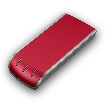 Security Box, Phonix Contact, Produktdesign-Studie, Rendering aus SolidWorks des rotmetallicfarbenen rechteckigen Designgehäuses, Perspektive 02