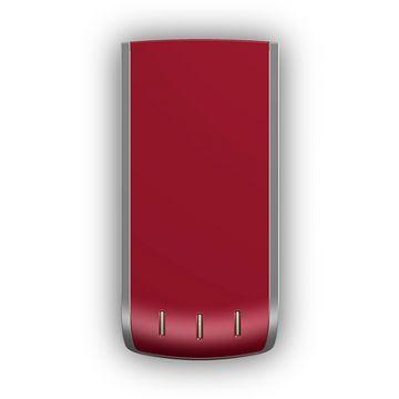 Security Box, Phonix Contact, Produktdesign-Studie, Rendering aus SolidWorks des rotmetallicfarbenen rechteckigen Designgehäuses, Draufsicht