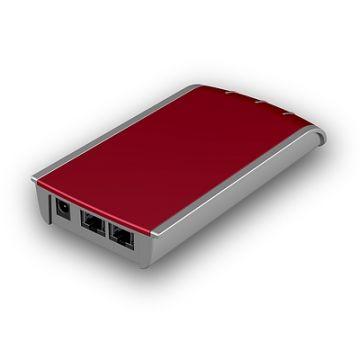 Security Box, Phonix Contact, Produktdesign-Studie, Rendering aus SolidWorks des rotmetallicfarbenen rechteckigen Designgehäuses, Perspektive