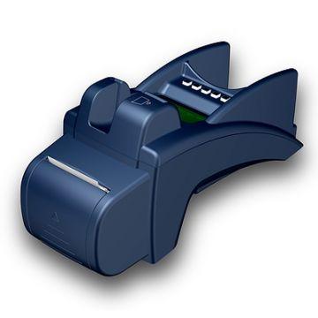 ZVT 3000, Produktdesign, Konsturktion und Vakuumguss von Constin, hier dargestellt ein Rendering aus SolidWorks: blaues EC-Zahlsystem mit Display mit Drucker