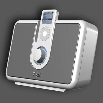 iPod-Verstärker: Produktdesign, Engineering aus SolidWorks von Constin, grauweißes rechteckiges Designgehäuse, Perspektive, großes Bild