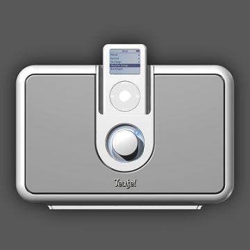 iPod-Verstärker: Produktdesign, Engineering aus SolidWorks von Constin, grauweißes rechteckiges Designgehäuse, Frontal