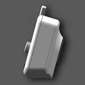 iPod-Verstärker: Produktdesign, Engineering aus SolidWorks von Constin, grauweißes rechteckiges Designgehäuse, Seitensicht