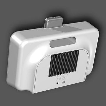 iPod-Verstärker: Produktdesign, Engineering aus SolidWorks von Constin, grauweißes rechteckiges Designgehäuse, von hinten