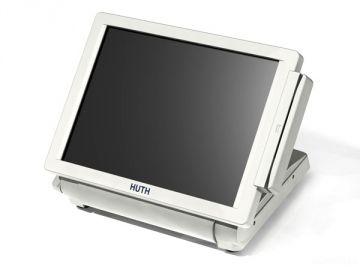 Kassensystem T500, Produktdesign, Konstruktion, Prototyping (3D-Druck), Production von Constin, hier ein Rendering aus SolidWorks, das einen schlichten weißen Monitor mit klarem Gehäusedesign zeigt
