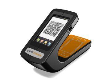Phonereader, Produktdesign-Studie von Constin, das Rendering aus SolidWorks zeigt dem Smartphone-Leser von oben mit Logo von galaniprojects.