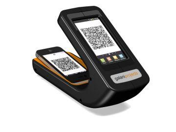 Phonereader, Produktdesign_Studie von Constin, das Rendering aus SolidWorks zeigt dem Smartphone-Leser von oben mit eingelegten Smartphones
