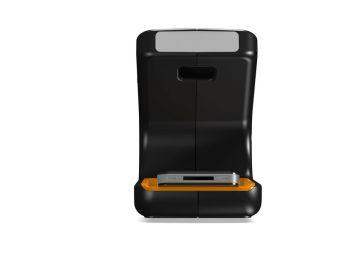 Phonereader, Produktdesign_Studie von Constin, das Rendering aus SolidWorks zeigt dem Smartphone-Leser frontal