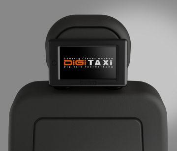 LED Display für Digitaxi für digitale Werbung im Taxi, positioniert an der Kopfstütze.