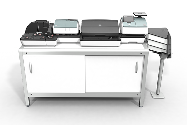 Aktive Rampe für PostBase 100: Produktdesign und Designstudie in SolidWorks von Constin. hier die Rampe integriert in die große PostBase auf einem weißen Unterschrank, frontal