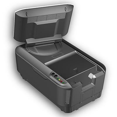 Visualisierungsgerät VG 100 international: Produktdesign, Konstruktion, Prototypenbau, CNC-Fräsen, von Constin, hier ein Rendering des Designgehäuses aus SolidWorks von hinten mit Monitor