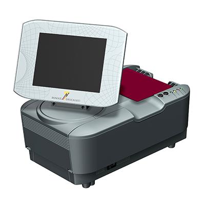 Visualisierungsgerät VG 100: Produktdesign, Konstruktion, Prototypenbau, CNC-Fräsen, Kleinserienproduktion: Vakuumguss von Constin, hier ein Rendering des Designgehäuses aus SolidWorks mit Monitor und eingelegtem Pass von vorn