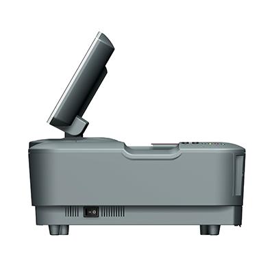 Visualisierungsgerät VG 100: Produktdesign, Konstruktion, Prototypenbau, CNC-Fräsen, Kleinserienproduktion: Vakuumguss von Constin, hier ein Rendering des Designgehäuses aus SolidWorks mit Monitor und eingelegtem Pass von der Seite