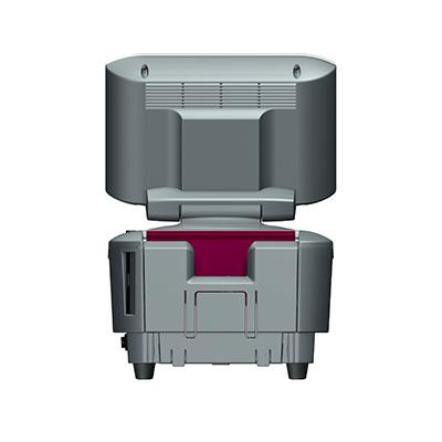Visualisierungsgerät VG 100: Produktdesign, Konstruktion, Prototypenbau, CNC-Fräsen, Kleinserienproduktion: Vakuumguss von Constin, hier ein Rendering des Designgehäuses aus SolidWorks mit Monitor und eingelegtem Pass von hinten