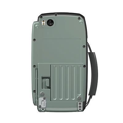 VM100, Produktdesign & Konstruktion & Prototyping: 3D-Druck + Vakuumguss v. Constin, Das Rendering aus SolidWorks zeigt das military-grüne Kunststoffgehäuse von unten mit Griff