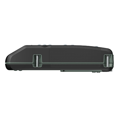 VM100, Produktdesign & Konstruktion & Prototyping: 3D-Druck + Vakuumguss v. Constin, Das Rendering aus SolidWorks zeigt das military-grüne Kunststoffgehäuse von der Seite