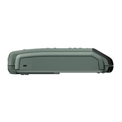 VM100, Produktdesign & Konstruktion & Prototyping: 3D-Druck + Vakuumguss v. Constin, Das Rendering aus SolidWorks zeigt das military-grüne Kunststoffgehäuse von der anderen Seite