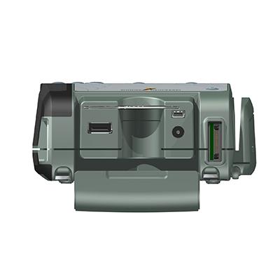 VM100, Produktdesign & Konstruktion & Prototyping: 3D-Druck + Vakuumguss v. Constin, Das Rendering aus SolidWorks zeigt das military-grüne Kunststoffgehäuse von vorn, offen