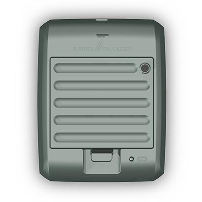 Ladegerät für Visotec Mobile 100, Produktdesign, Konstruktion,CNC-fräsen und Vakuumguss von Constin, hier ein fotorealistisches Rendering deas Kunststoffgehäuses aus Solidworks, Draufsicht