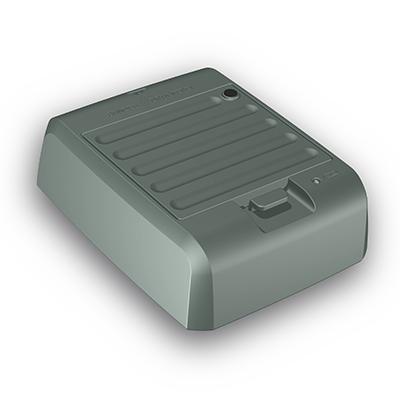 Ladegerät für Visotec Mobile 100, Produktdesign, Konstruktion,CNC-fräsen und Vakuumguss von Constin, hier ein fotorealistisches Rendering deas Kunststoffgehäuses aus Solidworks, Perspektivansicht 01